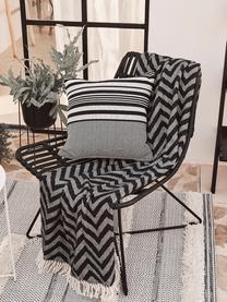 Boho-Sessel Costa in Schwarz, Sitzfläche: Polyethylen-Geflecht, Gestell: Metall, pulverbeschichtet, Schwarz, B 64 x T 64 cm