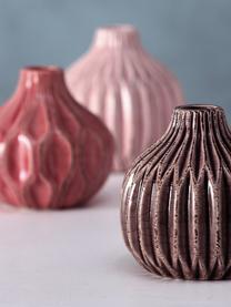 Set de jarrones de gres Lenja, 3pzas., Gres, Rosa, coral, marrón, Ø 11 x Al 11 cm