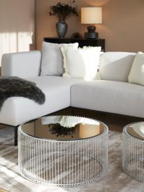 Set 2 tavolini da salotto in metallo Wire, Piano d'appoggio: vetro specchiato, Struttura: metallo verniciato a polv, Cromo, Set in varie misure
