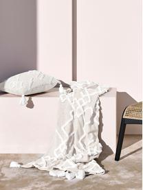 Baumwolldecke Tikki mit getufteter Verzierung, 100% Baumwolle, Beige, 130 x 170 cm