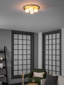 Plafond- en wandlamp Hitch van opaalglas, Baldakijn en fitting: mat messingkleurig. Lampenkappen: wit, Ø 36 x H 12 cm