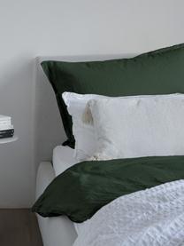 Gewaschene Leinen-Bettwäsche Nature in Dunkelgrün, Halbleinen (52% Leinen, 48% Baumwolle) Fadendichte 108 TC, Standard Qualität Halbleinen hat von Natur aus einen kernigen Griff und einen natürlichen Knitterlook, der durch den Stonewash-Effekt verstärkt wird. Es absorbiert bis zu 35% Luftfeuchtigkeit, trocknet sehr schnell und wirkt in Sommernächten angenehm kühlend. Die hohe Reissfestigkeit macht Halbleinen scheuerfest und strapazierfähig., Dunkelgrün, 135 x 200 cm + 1 Kissen 80 x 80 cm
