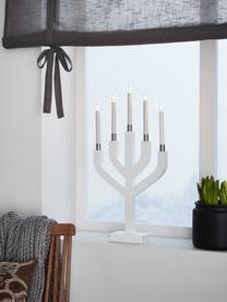 Kerzenleuchter Aplared H 63 cm, mit Stecker, Gestell: Holz, lackiert, Weiß, Messingfarben, 31 x 63 cm