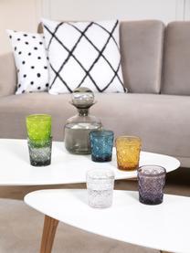 Wassergläser Marrakech in Bunt mit Strukturmuster, 6er-Set, Glas, Blau, Lila, Grau, Grün, Gelb, Transparent, Ø 8 x H 10 cm