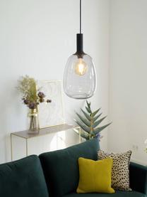 Kleine Pendelleuchte Alton aus Glas, Lampenschirm: Glas, Baldachin: Metall, beschichtet, Schwarz, Grau, transparent, Ø 23 x H 43 cm