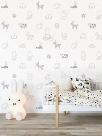 Papier peint Miffy, Blanc, gris