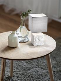 Kleine Nachttischlampe Adda aus Keramik, Lampenschirm: Stoff, Lampenfuß: Keramik, Weiß, Hellgrau, Ø 15 x H 29 cm