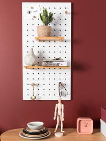 Wandregal Bundy mit Holzhaken und Magneten, Regalträger: Metall, pulverbeschichtet, Regalbretter: Bambusholz,massiv auf Bu, Weiß, 90 x 45 cm