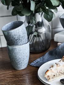 Tazza in gres fatta a mano Nordic Sea 6 pz, Gres, Tonalità grigie e blu, Ø 8 x Alt. 10 cm
