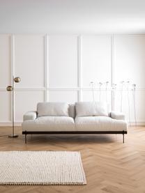 Sofa Brooks (3-Sitzer) in Beige mit Metall-Füssen, Bezug: Polyester Der Bezug weist, Gestell: Kiefernholz, massiv, Rahmen: Kiefernholz, lackiert, Webstoff Beige, B 230 x T 98 cm