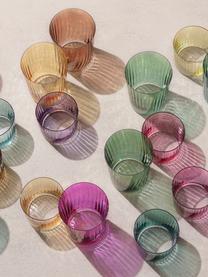 Mundgeblasene Wassergläser Gems mit Rillenrelief, 4er-Set, Glas, mundgeblasen, Grüntöne, Ø 8 x H 7 cm