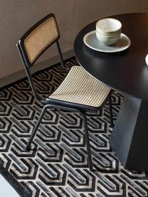 Tappeto con motivo a rilievo Beverly, Retro: lattice, Nero, beige, grigio, Larg. 200 x Lung. 300 cm (taglia L)