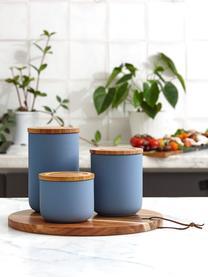 Aufbewahrungsdose Stak, Dose: Keramik, Deckel: Bambusholz, Mattblau, Bambus, Ø 10 x H 13 cm