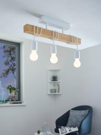Deckenleuchte Townshend aus Holz, Baldachin: Stahl, lackiert, Weiß, Holz, 55 x 27 cm