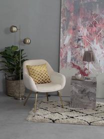 Sedia con braccioli in velluto Kassandra, Rivestimento: velluto (poliestere) La c, Gambe: metallo, verniciato, Velluto bianco crema, Larg. 72 x Prof. 68 cm