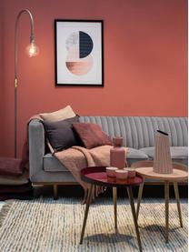 Fluwelen bank Dante (3-zits) in donkergrijs met houten poten, Bekleding: polyester fluweel, Poten: gelakt rubberboomhout, Fluweel donkergrijs, B 210  x D 87 cm