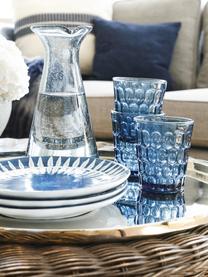 Robuste Wassergläser Optic in Blau mit Relief, 6 Stück, Glas, Transparent,Blau, Ø 9 x H 11 cm