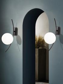 Wandlamp Hilal van opaalglas, Lampenkap: opaalglas, Zwart, opaalwit, 15 x 44 cm
