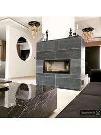 Tavolino da salotto effetto marmo Lesley, Pannello di fibra a media densità (MDF) rivestito con foglio di melamina, Nero, marmorizzato lucido, Larg. 120 x Alt. 35 cm