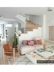 Leren fauteuil Noble, Frame: gecarboniseerd bamboehout, Bamboekleurig, lichtbruin, B 61 x D 59 cm
