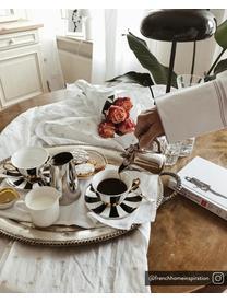 Teetasse mit Untertasse Stripy, Fine Bone China, vergoldet, Schwarz, Weiß Rand und Henkel: Gold, Ø 15 x H 6 cm