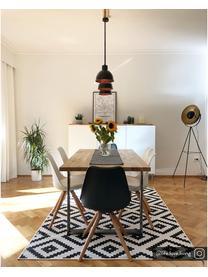 Eettafel Oliver met massief houten blad, Tafelblad: geolied massief wild eike, Poten: gelakt metaal, Wild eiken, edelstaalkleurig, 160 x 90 cm