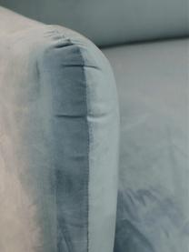Samt-Sofa Moby (3-Sitzer) in Türkis mit Metall-Füßen, Bezug: Samt (Hochwertiger Polyes, Gestell: Massives Kiefernholz, Füße: Metall, pulverbeschichtet, Samt Türkis, B 220 x T 95 cm