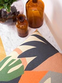 Federa reversibile con stampa tropicale Images, 85% cotone, 15% lino, Rosa, multicolore, Larg. 50 x Lung. 50 cm