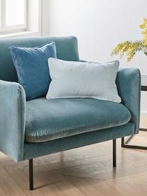 Fotel z aksamitu z metalowymi nogami Moby, Tapicerka: aksamit (wysokiej jakości, Nogi: metal malowany proszkowo, Aksamitny turkusowy, S 90 x G 90 cm