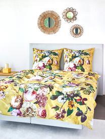 Dwustronna pościel z satyny bawełnianej  Fleur, Żółtozłoty, wielobarwny (biały, zielony, blady różowy), 135 x 200 cm