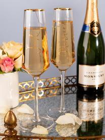 Sada sklenic na sekt se zlatými nápisy Just Married, 2 díly, Transparentní, zlatá