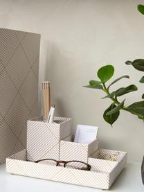 Bureau organizerset Lena, 4-delig, Massief, gelamineerd karton, Goudkleurig, wit, Set met verschillende formaten