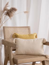 Kissenhülle Lori in Beige mit dekorativen Quasten, 100% Baumwolle, Beige, 30 x 50 cm