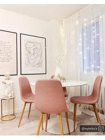 Okrągły stolik pomocniczy z marmuru Ella, Blat: marmur, Stelaż: metal malowany proszkowo, Blat: biały marmur Stelaż: odcienie złotego, matowy, Ø 40 x W 50 cm