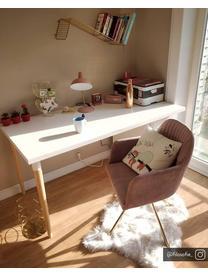 Krzesło z podłokietnikami z aksamitu Lola, obrotowe, Tapicerka: aksamit poliestrowy Dzięk, Nogi: metal galwanizowany, Aksamitny mauve, nogi: złoty, S 58 x G 53 cm