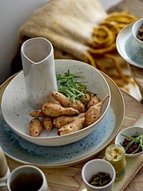 Pot à lait rustique en grès fait main Heather, 150ml, Blanc, bleu