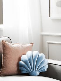 Samt-Kissen Shell in Muschelform, Vorderseite: 100% Polyestersamt, Rückseite: 100% Baumwolle, Hellblau, 30 x 28 cm