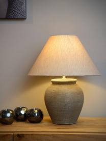 Keramik-Tischlampe Ramzi, Lampenschirm: Baumwolle, Lampenfuß: Keramik, Braun, Beige, Ø 34 x H 42 cm