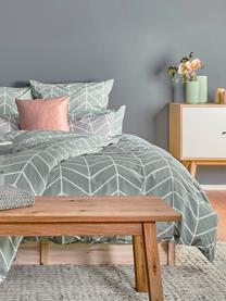 Baumwoll-Bettwäsche Mirja mit grafischem Muster, Webart: Renforcé Fadendichte 144 , Grün, Cremeweiß, 155 x 220 cm + 1 Kissen 80 x 80 cm