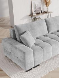 Sofa rozkładana z aksamitu Byron (3-osobowa), Tapicerka: aksamit poliestrowy Dzięk, Nogi: metal lakierowany, Jasny szary, S 250 x G 105 cm