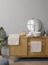 Lot de serviettes de bain imprimé zigzag Liv, 3élém., Couleur sable, blanc crème