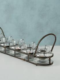 Windlichter-Set Zuma  mit Antik-Finish, 6-tlg., Windlicht: Glas, Halterung: Metall, Transparent, Metall mit Antik-Finish, 64 x 13 cm