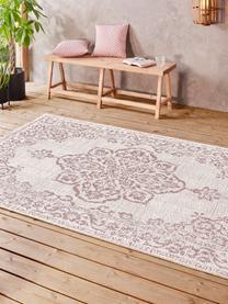 In- & outdoor vloerkleed Tilos in vintage stijl, 100% polypropyleen, Crèmekleurig, roze, B 120 x L 170 cm (maat S)