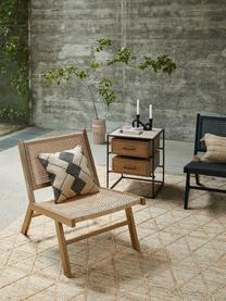 Fotel ogrodowy ze splotem z tworzywa sztucznego z imitacją drewna Palina, Stelaż: metal malowany proszkowo, Brązowy, S 57 x G 78 cm