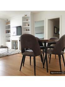 Krzesło tapicerowane z aksamitu Rachel, Tapicerka: aksamit (wysokiej jakości, Nogi: metal malowany proszkowo, Aksamitny stalowy szary, S 53 x G 57 cm
