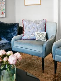 Fluwelen fauteuil Eugenia in blauw, Bekleding: fluweel (polyester), Poten: gepoedercoat metaal, Fluweel lichtblauw, B 75 x D 79 cm