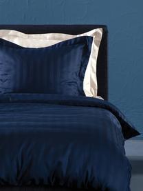 Pościel z satyny bawełnianej Linea, Ciemny niebieski, 135 x 200 cm + 1 poduszka 80 x 80 cm