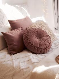 Cuscino rotondo in velluto con imbottitura Kanan, Rosa cipria, Ø 40 cm