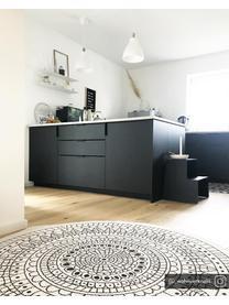 Rond dubbelzijdig in- en outdoor vloerkleed Porto in zwart/crèmekleur, met patroon, 100% polypropyleen, Zwart, crèmekleurig, Ø 140 cm (maat M)