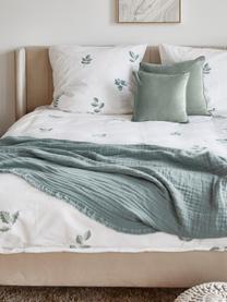 Poszewka na poduszkę z aksamitu Dana, Aksamit bawełniany, Szałwiowy zielony, S 40 x D 40 cm